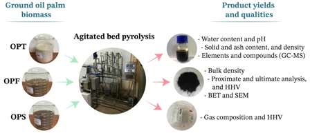 Investigation of yields and qualities of pyrolysis products obtained from oil palm biomass using an agitated bed pyrolysis reactor