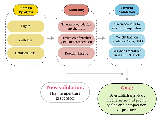 A review on the modeling and validation of biomass pyrolysis with a focus on product yield and composition