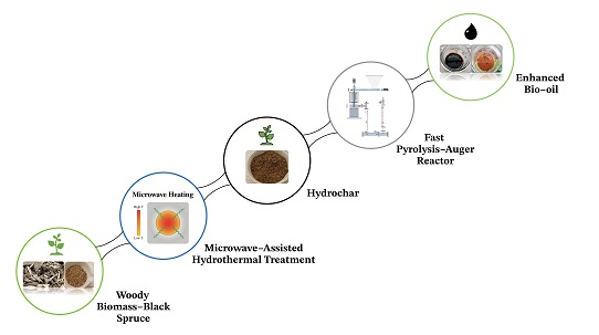 Optimization of microwave-assisted hydrothermal pretreatment and its effect on pyrolytic oil quality obtained by an auger reactor